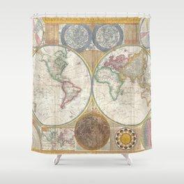 Samuel Dunn Wall Map of the World in Hemispheres c.1794 Shower Curtain