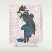 japanese Shower Curtains featuring japanese by Maria Durgarian