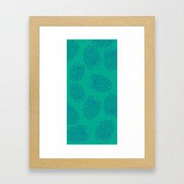 UrbanNesian Teal Monstera Leaf Framed Art Print