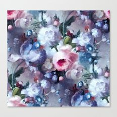 Blue and pink floral pattern Canvas Print