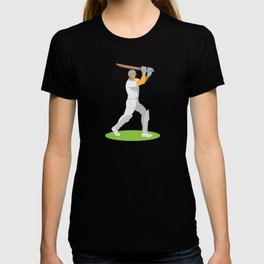 cricket player batsman batting retro T-shirt