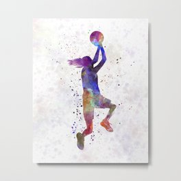 Young woman basketball player 05 in watercolor Metal Print