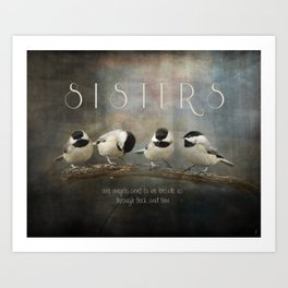 Sisters - Chickadees - Birds Art Print