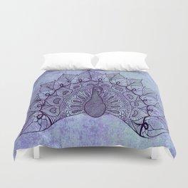Doodle Peacock Purple Duvet Cover