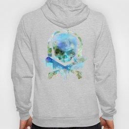 Watercolour Skull & Crossbones with Headphones. Hoody