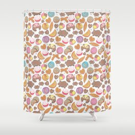 Mexican Sweet Bakery Frenzy // white background // pastel colors pan dulce Shower Curtain