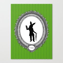 Alice's Adventures in Wonderland Silhouette White Rabbit Canvas Print