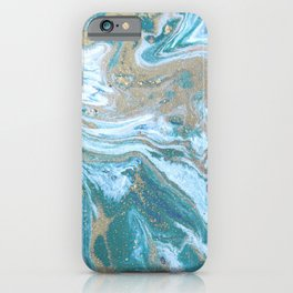 Teal Blue Marble ink iPhone Case