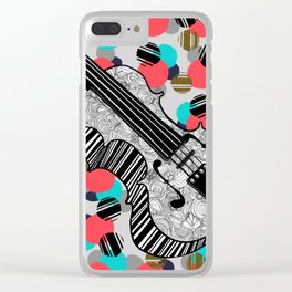Symphony of Spots n Swirls - cello v2 Clear iPhone Case