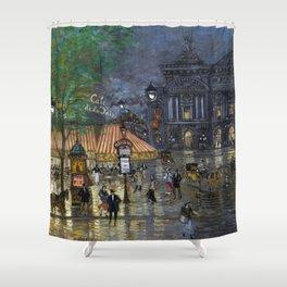 Paris Place de l'Opéra, 9th arrondissement, boulevard des Italiens, boulevard des Capucines painting by Konstantin Korovin Shower Curtain