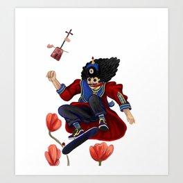 Mongolian man on skate Art Print