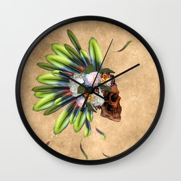 Awesome skull with feathers Wall Clock
