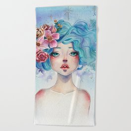 Blue Hair Beach Towel