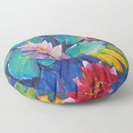 Water flowers Floor Pillow