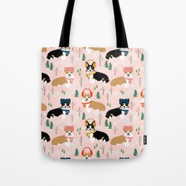 Corgi welsh corgi winter snow day holiday dog breed corgis pattern pet friendly dog person must have Tote Bag