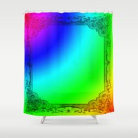 frame Shower Curtains featuring frame,art, by ira gora