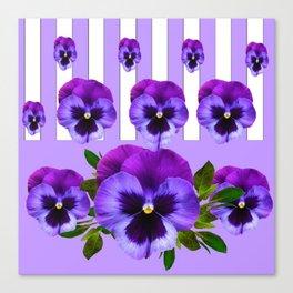 MODERN LILAC & PURPLE PANSY FLOWERS ART Canvas Print