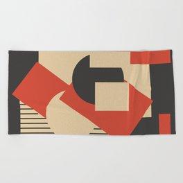 Geometrical abstract art deco mash-up scarlet beige Beach Towel