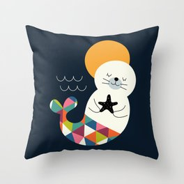 Seals Mermaid Throw Pillow