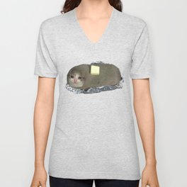 Crying Baked Potato Cat with Butter? Unisex V-Neck