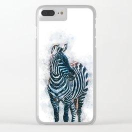 Watercolor zebra illustration Clear iPhone Case