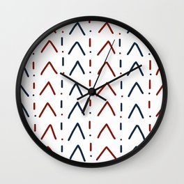Hand drawn navy blue and crimson red Wall Clock