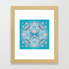 Folk Flowers in Pink and Dusty Blue Framed Art Print