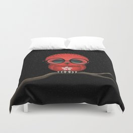 Baby Owl with Glasses and Hong Kong Flag Duvet Cover