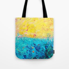 THE DIVIDE - Stunning Bold Colors, Ocean Waves Sun, Modern Beach Chic Theme Abstract Painting Tote Bag