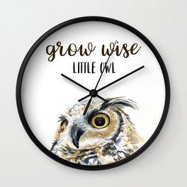 Grow Wise Little Owl Nursery Animals Art Great Horned Owl Wall Clock