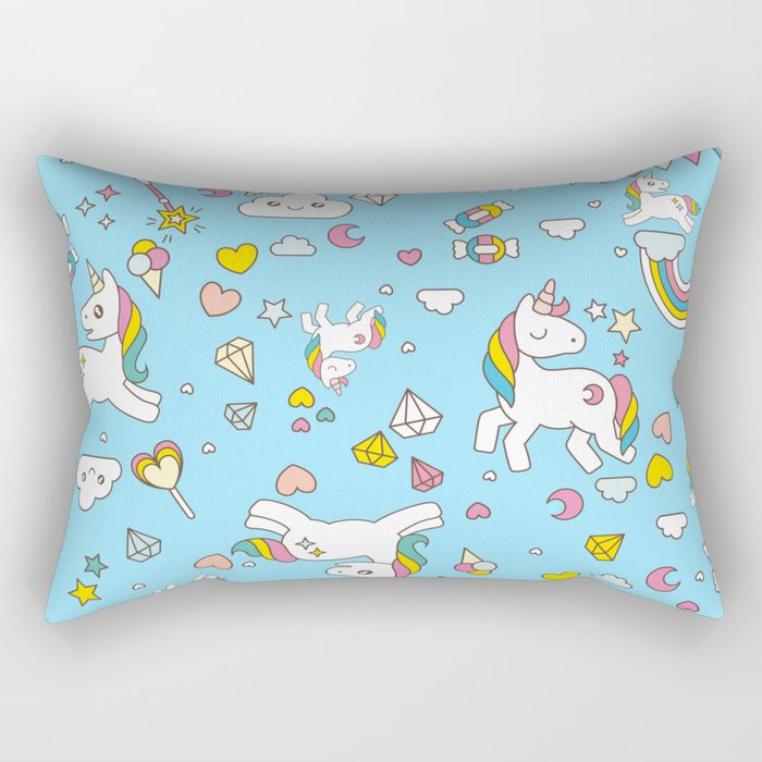 Unicorn Light Blue Pattern Rectangular Pillow