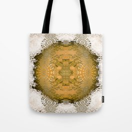 Golden Gothic Weathered Lace Mandala Tote Bag