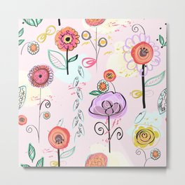 Hand drawing abstract flowers. Naturel and pastel colored colorful spring pattern Metal Print