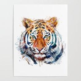 Tiger Head watercolor Poster