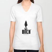 bitch V-neck T-shirts featuring BITCH by explicit motos