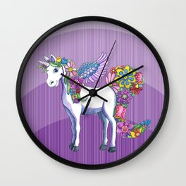 Magical Unicorn in a Hazy Purple Sunset Wall Clock