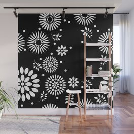 Black and white seamless floral pattern Wall Mural