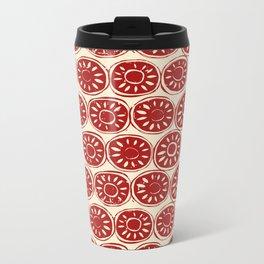 flower block red ivory Metal Travel Mug