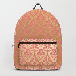 Modern chic coral faux gold floral elegant damask Backpack