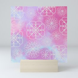 Modern pink lavender watercolor geometrical floral Mini Art Print