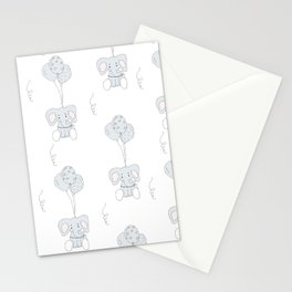 Elephants with Balloons Stationery Cards