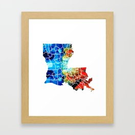 Louisiana Map - State Maps By Sharon Cummings Framed Art Print