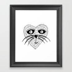 Kitty Love - Heart cat Framed Art Print