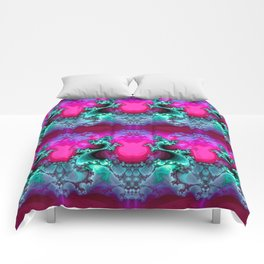 Here be Dragons (hot magenta-mint) Comforters