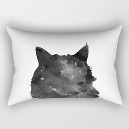 Watercolor Black Cat Rectangular Pillow