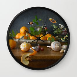 Still Life with Clementines Wall Clock