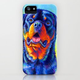 Gentle Guardian Colorful Rottweiler Dog iPhone Case