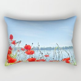 Red poppies in the lakeshore Rectangular Pillow