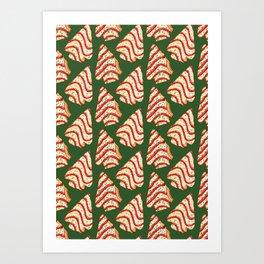 Christmas Tree Cakes Pattern - Green Art Print