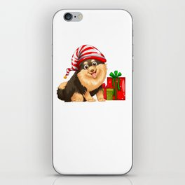 Christmas theme with cute dog and present iPhone Skin
